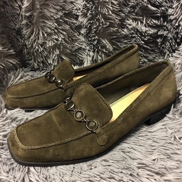 2443c49bcb01a7 Liz Claiborne Shoes - Liz Claiborne Wilma Olive Green Suede Jewel Loafer